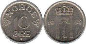 coin Norway 10 ore 1954