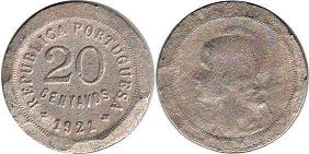 coin Portugal 20 centavos 1921