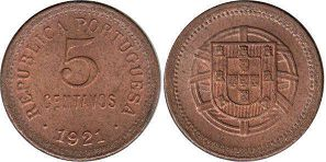 coin Portugal 5 centavos 1921