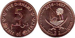 coin Qatar 5 dirhams 2016