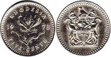 coin Rhodesia 5 cents 1973