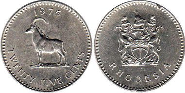 coin Rhodesia 25 cents 1975