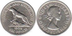 coin Rhodesia and Nyasaland 6 pence 1955