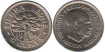 coin Sierra Leone 5 cents 1964