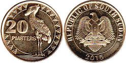 coin South Sudan 20 piasters 2015
