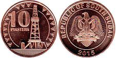 coin South Sudan 10 piasters 2015
