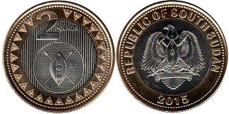 coin South Sudan 2 pounds 2015