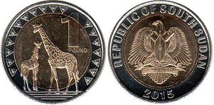 coin South Sudan 1 pound 2015