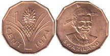 coin Swaziland 1 cent 1974