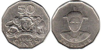 coin Swaziland 50 cents 1986