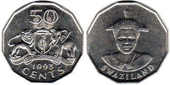 coin Swaziland 50 cents 1993