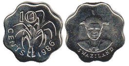 coin Swaziland 10 cents 1986