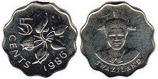 coin Swaziland 5 cents 1986