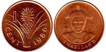 coin Swaziland 1 cent 1986