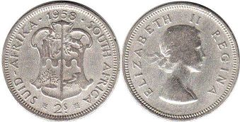 old coin South Africa 2 shillings 1958