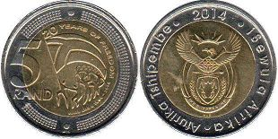 coin South Africa 5 rand 2014