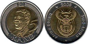coin South Africa 5 rand 2008