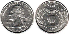 coin US commemorative coin 1/4 dollar 1999 state quarter Georgia