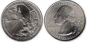 coin US commemorative coin 1/4 dollar 2015 quarter National Parks - Blue Ridge Parkway