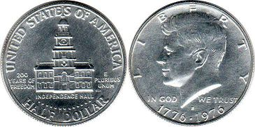 coin US commemorative coin 1/2 dollar 1976 Bicentennial silver