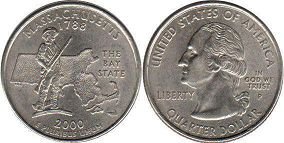 coin US commemorative coin 1/4 dollar 2000 state quarter Massachusetts