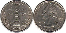 coin US commemorative coin 1/4 dollar 2000 state quarter Maryland