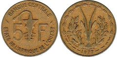piece West African States 5 francs 1977