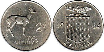 coin Zambia 2 shillings 1964