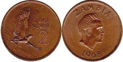 coin Zambia 2 ngwee 1968