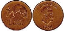 coin Zambia 1 ngwee 1968