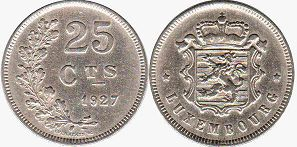 coin Luxembourg 25 centimes 1927