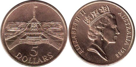 australian commemmorative coin 5 dollars 1988