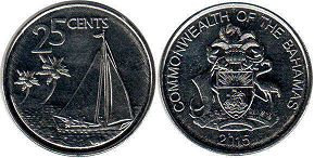 coin Bahamas 25 cents 2015