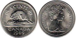canadian coin 5 cents 1989