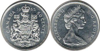canadian coin 50 cents 1965
