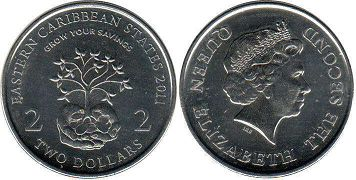 coin Eastern Caribbean States 2 dollars 2001