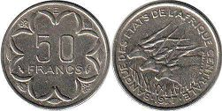 piece Central African States (CFA) 50 francs 1977
