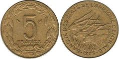 piece Central African States (CFA) 5 francs 1975