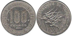 coin Chad 100 francs 1980