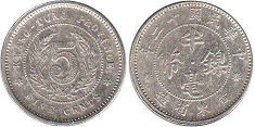 coin chinese 5 cents 1923 silver