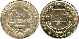 coin Costa Rica 25 centimos 1944
