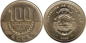 coin Costa Rica 100 colones 2000