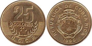 coin Costa Rica 25 colones 1995