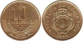 coin Costa Rica 10 colones 1995