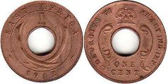 coin BRITISH EAST AFRICA 1 cent 1942