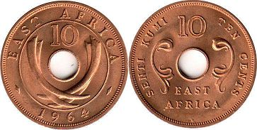 coin EAST AFRICA 10 cents 1964