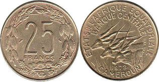 coin Equatorial African States 25 francs 1972