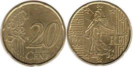 coin France 20 euro cent 1999