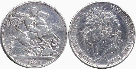 coin UK old coin crown 1821