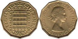 coin UK coin 3 pence 1953